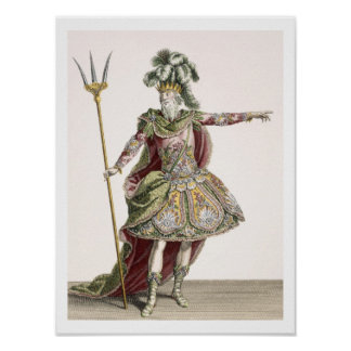 Costume for Neptune in several operas, engraved by Poster