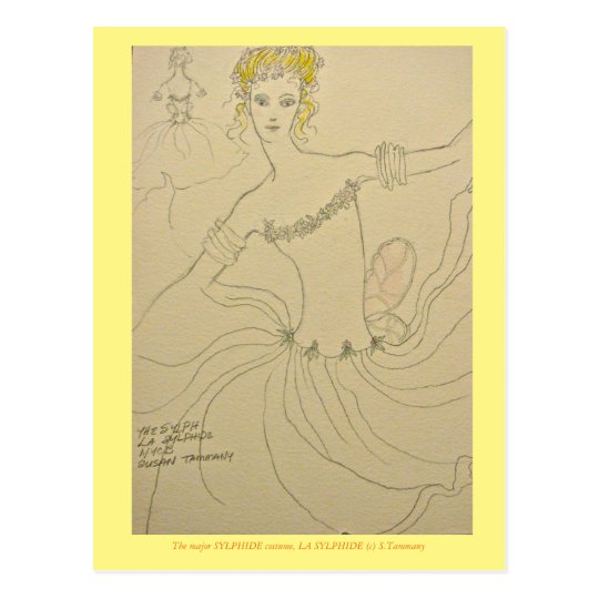 Costume for principle Sylphide in ballet Postcard