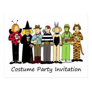 Costume party invitation, children in fancy dress. postcard