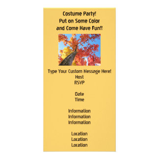 Costume Party Invitations Cards Autumn Leaves Customized Photo Card
