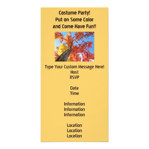 Costume Party Invitations Cards Autumn Leaves Photo Cards