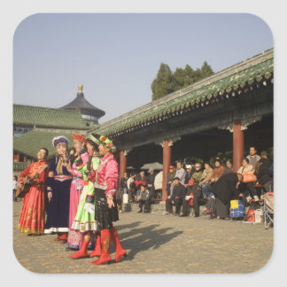 Costumed amateur folk dancers entertain square stickers