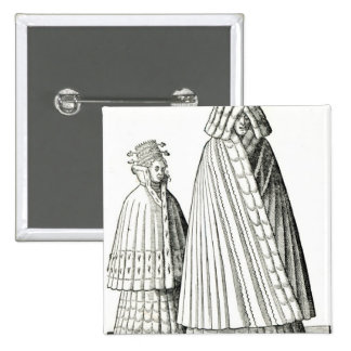 Costumes of a Livonian noblewoman 15 Cm Square Badge