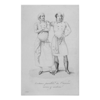 Costumes of cooks from different eras poster