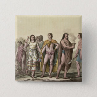 Costumes of the Mexicans (colour engraving) 15 Cm Square Badge
