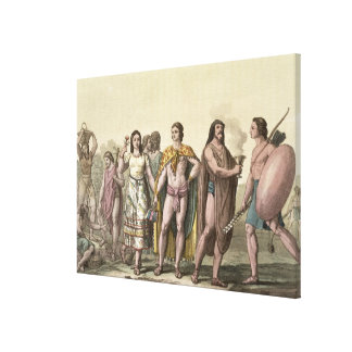Costumes of the Mexicans (colour engraving) Canvas Print