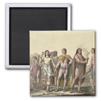 Costumes of the Mexicans (colour engraving) Magnet