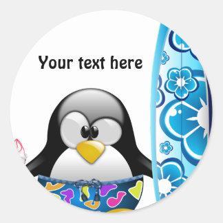 Costumizable Round Sticker - Penguin on the Beach