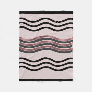 Cosy Abstract Monogrammed Waves Blush Pink Blanket