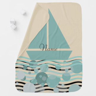 Cosy Add Name Cute Sailor Boat Baby Blanket