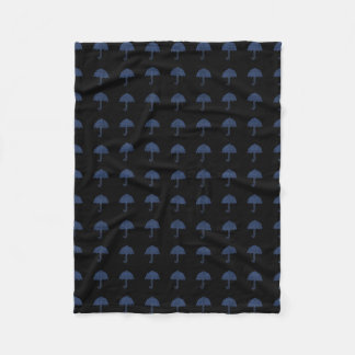Cosy Blue Umbrella Pattern Black Blanket