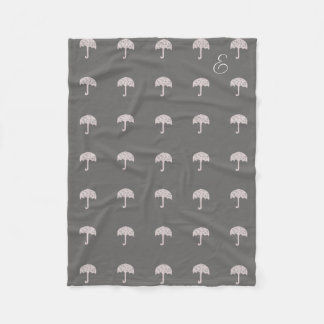 Cosy Blush Umbrella Pattern Monogrammed Blanket