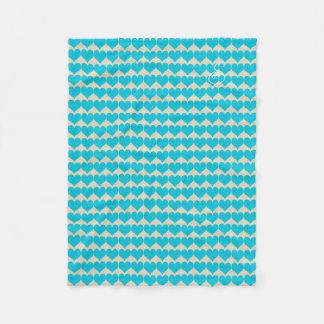 Cosy Cute Bright Mint Hearts Pattern Beige Blanket