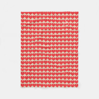 Cosy Cute Bright Red Hearts Pattern Beige Blanket