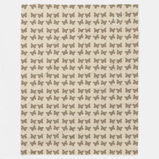 Cosy Cute Gold Butterfly Pattern Beige Blanket