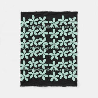 Cosy Cute Mint Flowers Pattern  Black Blanket