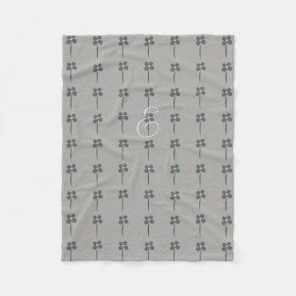 Cosy Cute Pretty Floral Pattern Gray Blanket