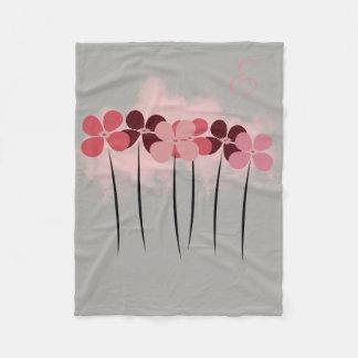 Cosy Cute Pretty Pink Flowers Gray Blanket