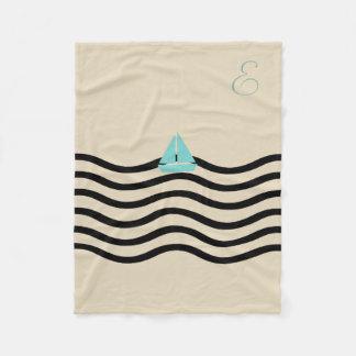 Cosy Cute Sailor Boat Beige Monogrammed Blanket