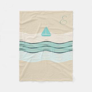 Cosy Cute Sailor Boat Monogrammed Pastels Blanket