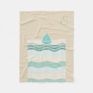 Cosy Cute Sailor Boat Monogrammed Waves Blanket