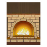 Cosy Fireplace Illustration Poster