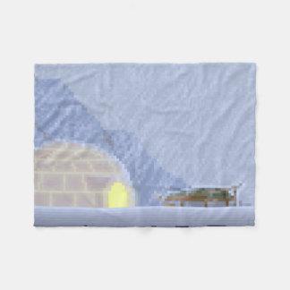 Cosy in the Storm Pixel Art Fleece Blanket