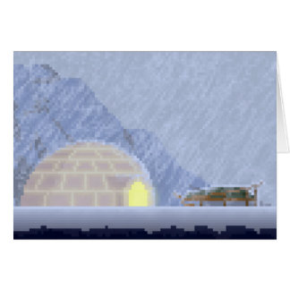 Cosy in the Storm Pixel Art Greeting Card