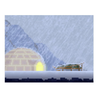 Cosy in the Storm Pixel Art Postcard