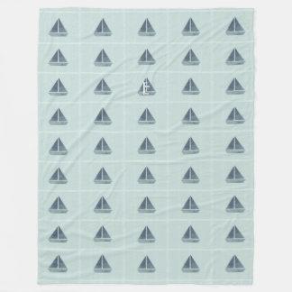 Cosy Mint Cute Sailor Boat Pattern Blanket