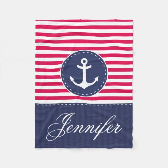 Cosy Nautical Red Blue Anchor Custom Text Fleece