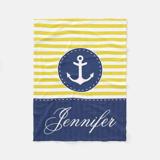 Cosy Nautical Yellow Blue Anchor Custom Text Fleece