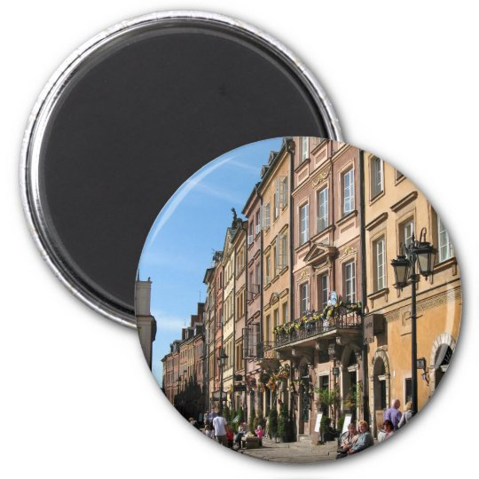 Cosy Old Town in Warsaw 6 Cm Round Magnet