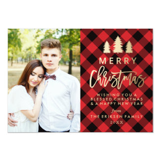 Cosy Plaid Holiday Photo Card in Red