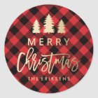 Cosy Plaid | Red and Black Buffalo Plaid Classic Round Sticker