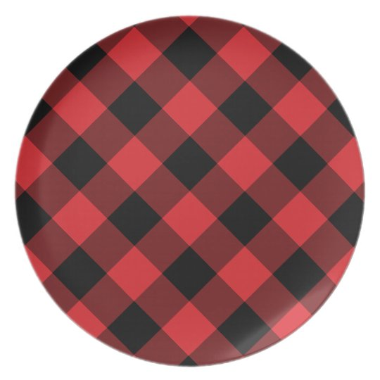 Cosy Plaid | Red and Black Buffalo Plaid Plate