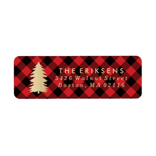 Cosy Plaid | Red and Black Buffalo Plaid Return Address Label