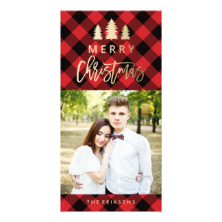 Cosy Plaid   Red Holiday Photo Card