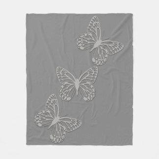 Cosy Silver Butterfly Grey Fleece Blanket