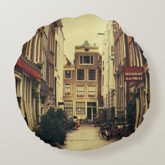 Cosy Street In Amsterdam, Retro Vintage Colors Round Cushion