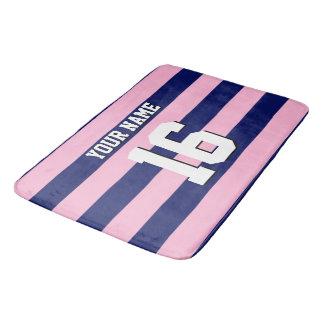 Cot Candy Pink Navy Blue Team Jersey Preppy Stripe Bath Mat