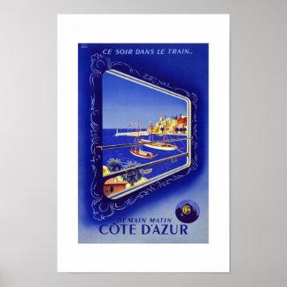 Cote D'azur France Vintage Travel Posters