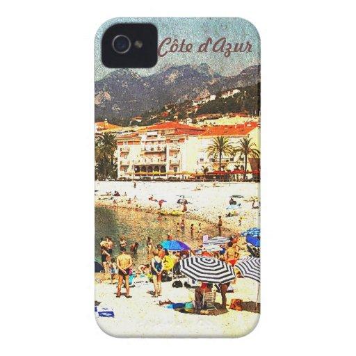 Côte d'Azur, retro beach scene i-phone case iPhone 4 Case