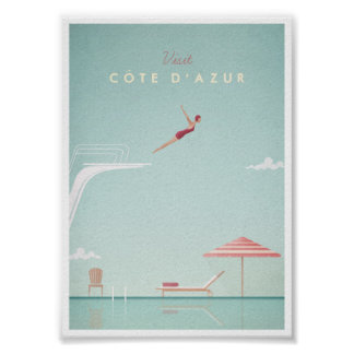 Côte d'Azur Vintage Diving Travel Poster