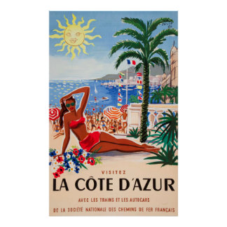 Cote D'Azur Vintage French Travel Poster
