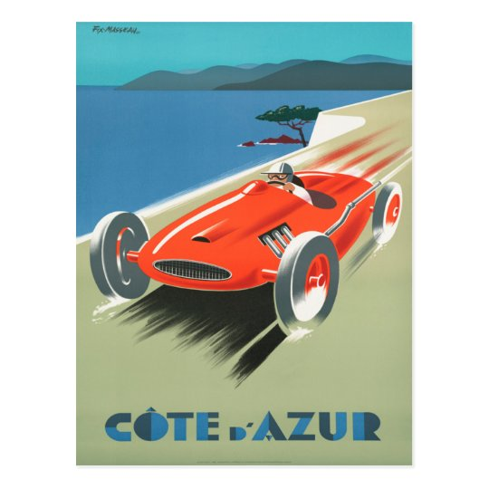 Cote d'Azur Vintage French Travel Poster Postcard