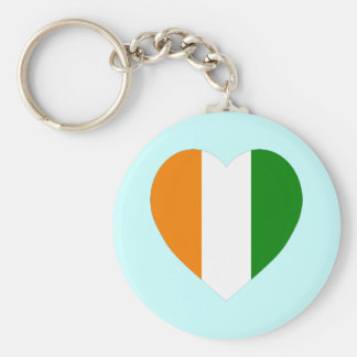 Cote D'Ivoire Flag Heart Keychain