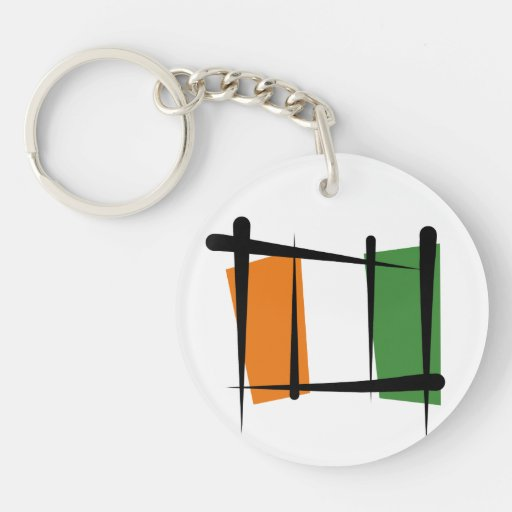 Cote d'Ivoire Ivory Coast Brush Flag Key Chain