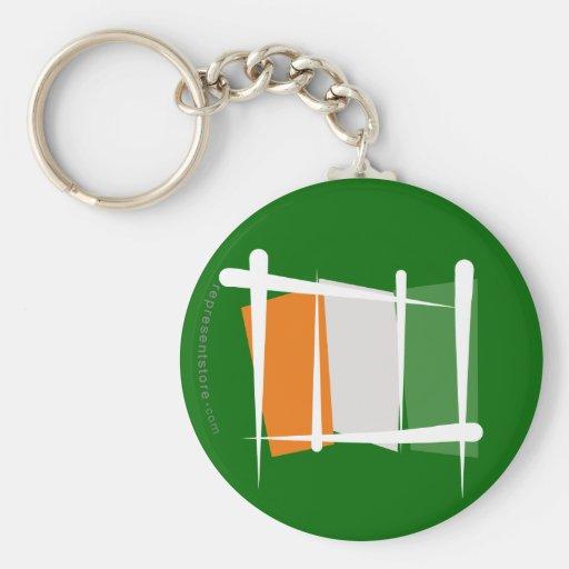 Côte d'Ivoire Ivory Coast Brush Flag Key Chains