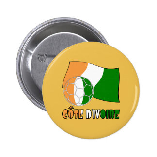 Cote D'Ivoire Soccer Ball and Flag 6 Cm Round Badge